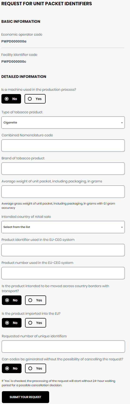 Application for unit pack identifiers