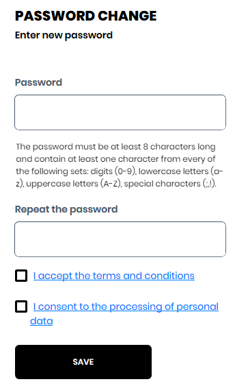 Setting the password